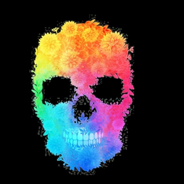 Mighty oak colorful floral skull preview